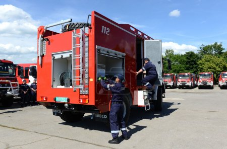 Sofia, Bulgaria - June 9, 2015: New fire trucks are presented to their firefighters