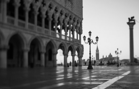 Tilt shift photo of morning in San Marco square in Venice. Soft focus