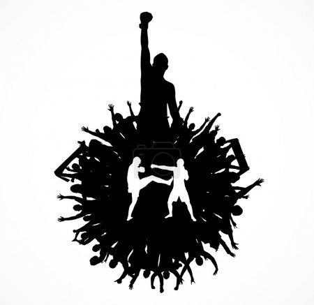 Silhouette of a fighter. Poster.