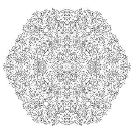 Hand drawn zentangle circle flower ornament.