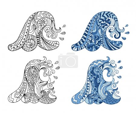 Illustration for Hand drawn zentangle waves and drops for adult anti stress. Coloring page with high details isolated on white background. Made by trace from sketch. Ink pen. Zentangle pattern for relax and meditation. - Royalty Free Image