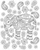 Hand drawn zentangle elephant1