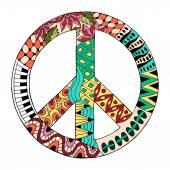 Hippie vintage peace symbol in zentangle style