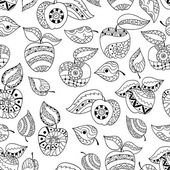 Hand drawn apples and leaves for anti stress colouring page. Sea