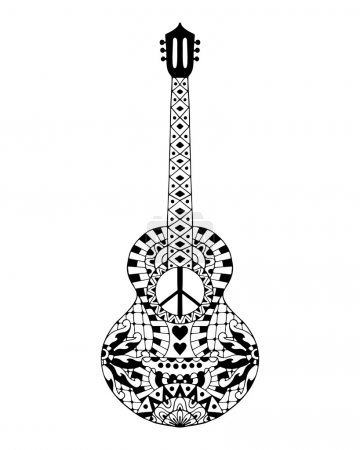 Hand drawn hippie acoustic guitar for anti stress colouring page