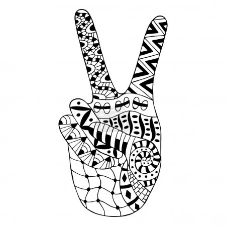 Hand drawn hippie peace symbol for anti stress colouring page.