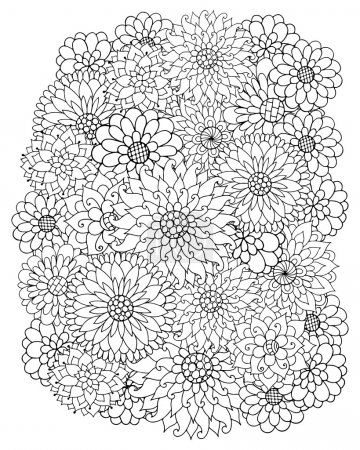 Hand drawn zentangle flowers for adult anti stress.