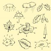 Autumn doodle set hand draw