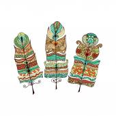 Set of ethnic vintage tribal feathers