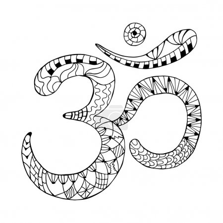 Illustration for Zentangle Om symbol. Aum, ohm. Hand drawn detailed vector illustration. Hand drawn background. Indian, Great design for tattoo, yoga studio, spirituality concepts, trendy textiles. - Royalty Free Image