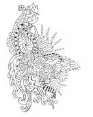 Hand drawnflower ornament coloring page
