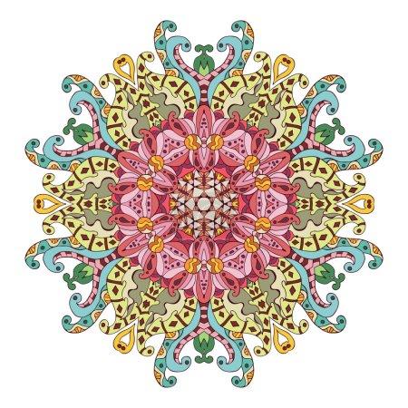Color ethnic ornamental floral pattern. Hand drawn mandala.