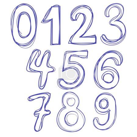 Alphabet numbers hand-drawn doodle sketch. Vector illustration