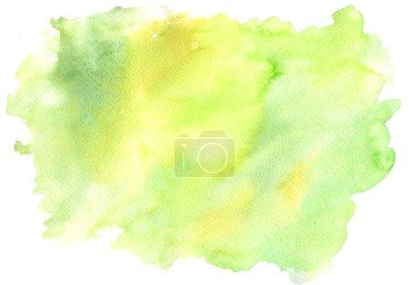 Photo pour Dessiné de main aquarelle fond jaune et vert ; splash Aquarelle sur fond blanc - image libre de droit