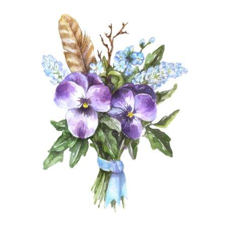 Photo pour Bouquet aquarelle de culottes avec plume, branche et ruban bleu - image libre de droit