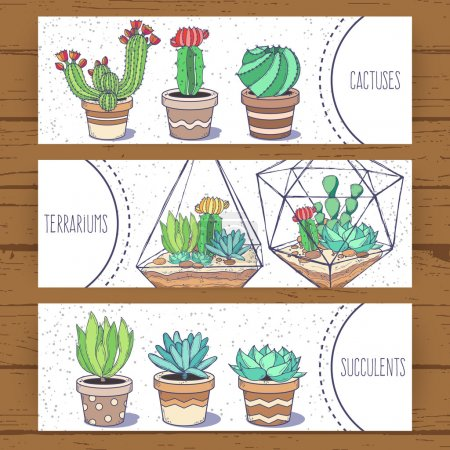 Photo for Succulents and cactus banners; hand drawn vector doodle illustration in sketch style with cacti, geometrical terrariums, pots; green home flowers and glass jars; template flyers for flower shop - Royalty Free Image