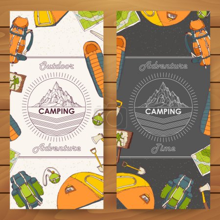 Illustration for Banners for tourism and camping in hand drawn sketch style; poster or postcard design with camping objects - tent, axe, sleeping bag, backpack, map, mat, saw, shovel, flask; retro mountain logo - Royalty Free Image