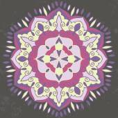 Beautiful indian mandala in purple gray and yellow colors on dark background