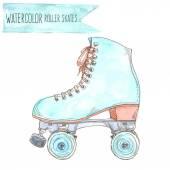 Watercolor retro roller skate