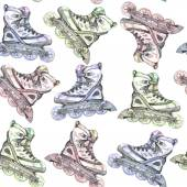 Vector seamless watercolor pattern with colorful roller skates