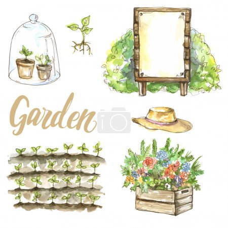 Illustration for Vector watercolor set of garden items - Royalty Free Image