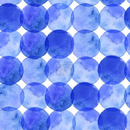Illustration for Vector seamless watercolor pattern with beautiful blue circles - Royalty Free Image