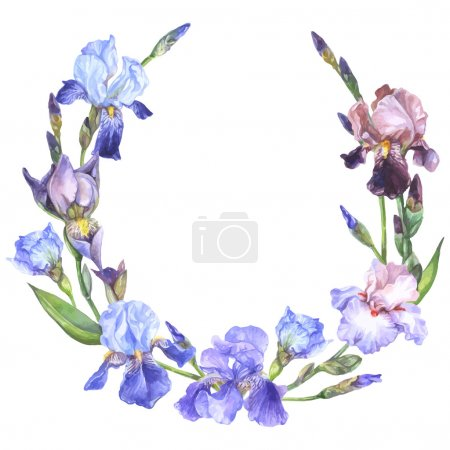 Illustration for Watercolor floral frame with purple, brown, pink and violet iris flowers, buds and leaves - Royalty Free Image