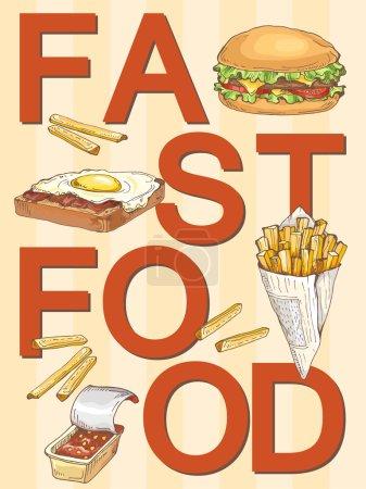Illustration pour Affiche de restauration rapide avec hamburger, frites, pain aux œufs et bacon, sauces ; affiche vectorielle malsaine - image libre de droit