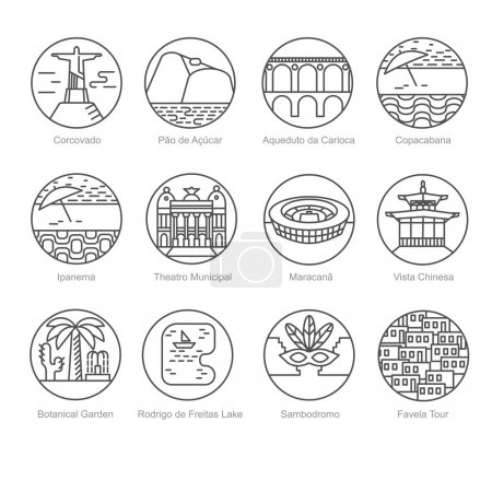 The most popular tourist spots of Rio de Janeiro linear icons