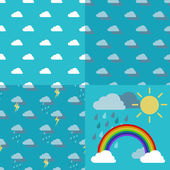 Three weather pattern seamless sky with clouds rain lightning and thunderstorm and objects rainbow iris arch sun and rainclouds vector