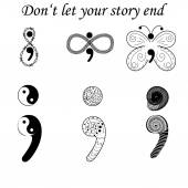 Fighting depression symbol semicolon variations