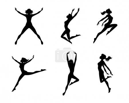 Illustration for Vector illustration of a jumping girls silhouettes - Royalty Free Image