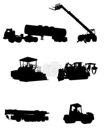Construction machinery silhouettes