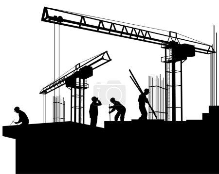 Illustration pour Illustration vectorielle d'un constructeur sur un chantier - image libre de droit