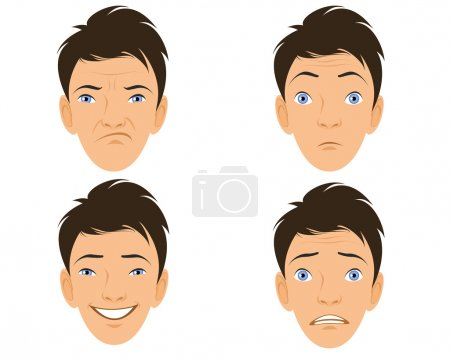 Illustration for Vector illustration of a four human faces - Royalty Free Image