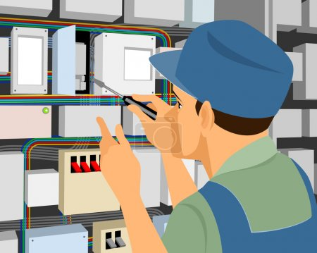 Illustration for Vector illustration of a electrician at work - Royalty Free Image
