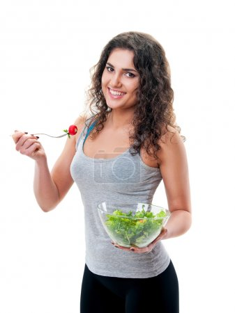 Photo for Bright picture of beautiful woman with lettuce - Royalty Free Image