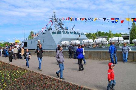 """The landing boat """"Lieutenant Rimsky-Korsakov"""" on Peter the Great Embankment in Kaliningrad"""