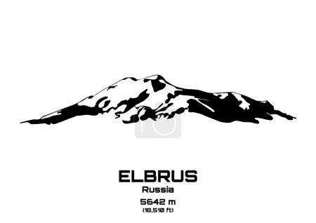 Outline vector illustration of Mt. Elbrus