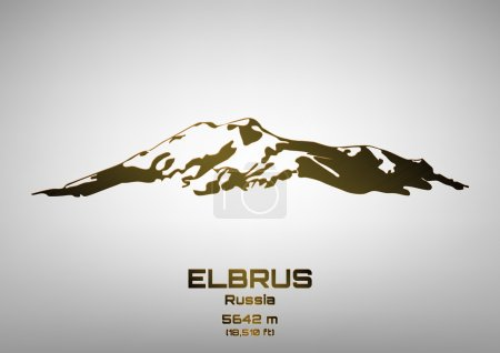 Outline vector illustration of bronze Mt. Elbrus
