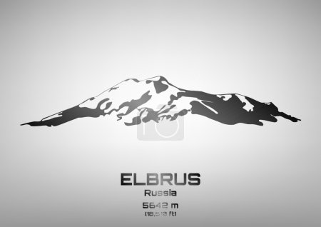 Outline vector illustration of steel Mt. Elbrus