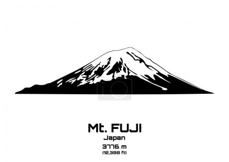 Outline vector illustration of Mt. Fuji