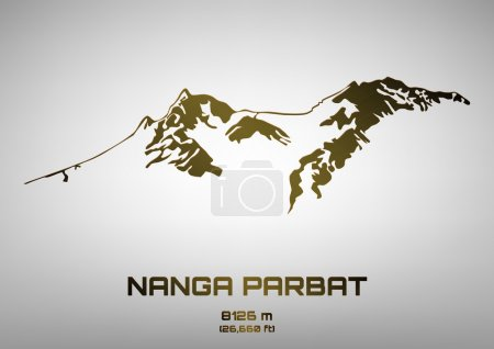 Outline vector illustration of bronze Mt. Nanga Parbat