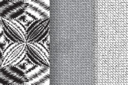 Illustration for Set of 3 Abstract patterns. Black and white seamless vector backgrounds - Royalty Free Image