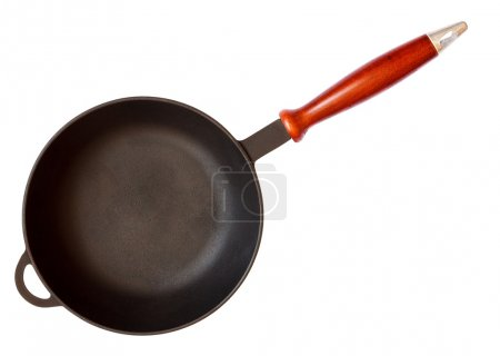 Cast iron skillet with wooden handle