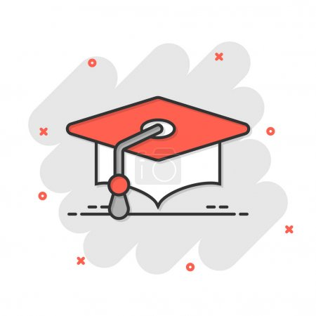 Illustration for Graduation hat icon in flat style. Student cap vector illustration on white isolated background. University business concept. - Royalty Free Image