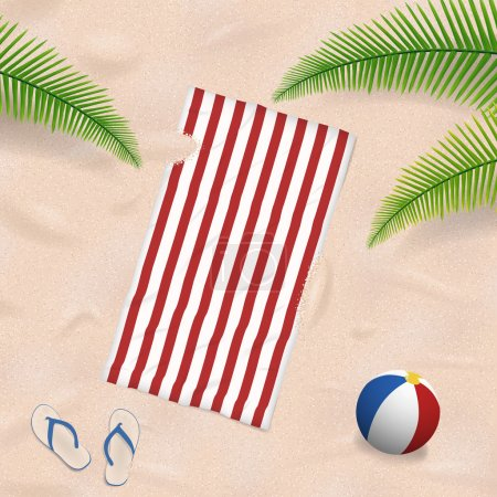 Beach towel in the sand