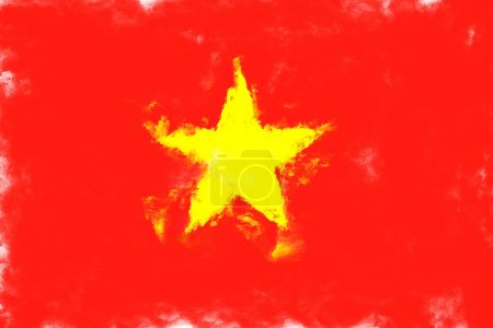 Oil painting grunge effected illustration of vietnam flag