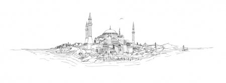 Webvector sketch drawing panoramic hagia sophia istanbul