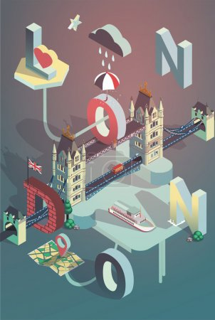 3d isometric london city poster